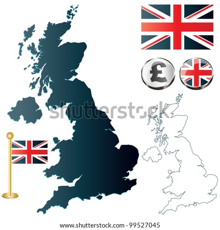 Vector of United Kingdom map, England flag and glossy buttons - stock vector