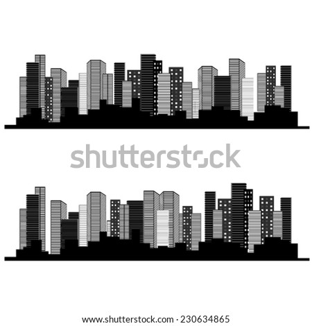 Vector of urban cityscape, symbol of business buildings, sale and lease real estate - stock vector