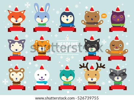 Vector of various cute festive animal portrait