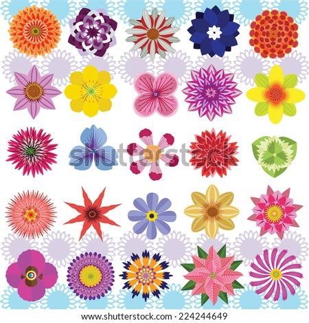vector of Various Flowers Isolated on White Background.  including ,Aster, dahlia, marigold, zinnia, straw flower, daisy,Poinsettia ,chrysanthemums, ,Pansy ,Delphinium,Hydrangea and other wildflowers  - stock vector