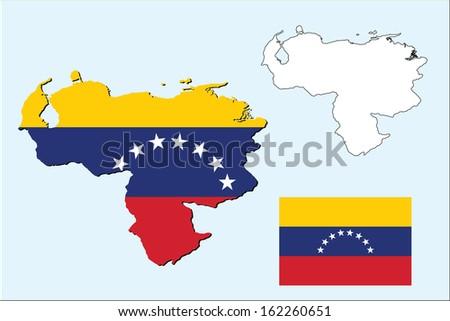 vector of venezuela map map with flag inside - stock vector
