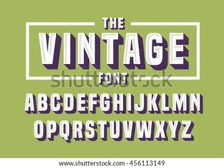 Vector of vintage font and alphabet - stock vector