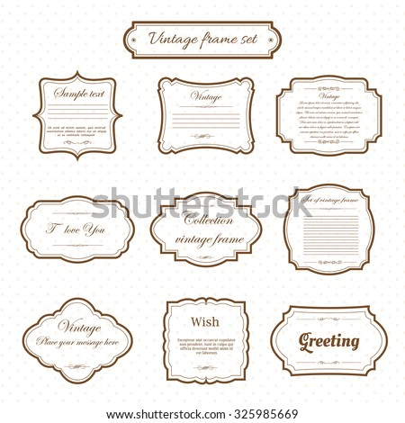 Vector of vintage frame set on pattern retro background. Calligraphic design elements. - stock vector