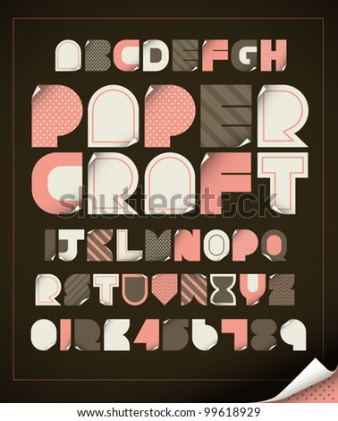 vector of vintage paper craft alphabets - stock vector