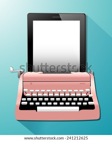 Vector of Vintage Typewriters with tablet. - stock vector
