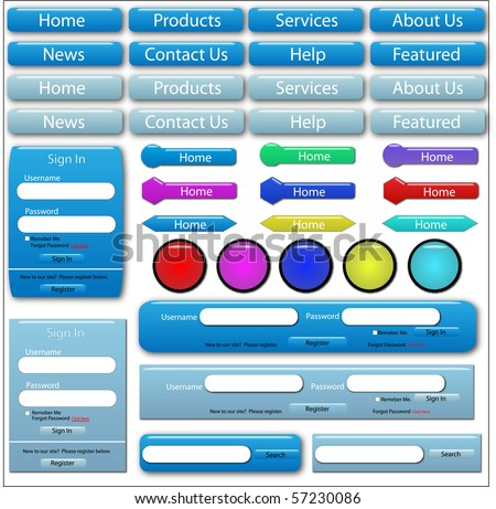 Vector of web forms and buttons