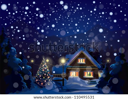Vector of winter landscape. Merry Christmas! - stock vector
