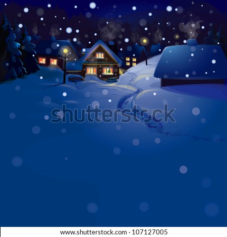 Vector of winter landscape. Merry Christmas!, snowfall is in separated layer - stock vector