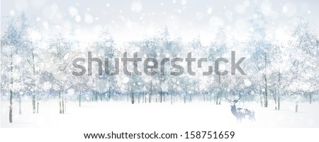 Vector of winter scene with deer on forest background. - stock vector
