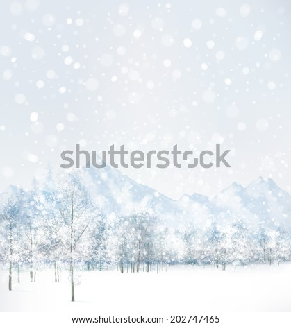 Vector of winter scene with forest and mountain background.  - stock vector