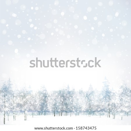 Vector of winter scene with forest background.  - stock vector