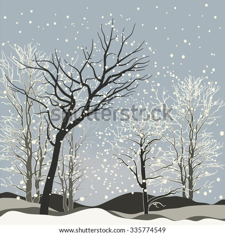 Vector of winter scene with forest background, fantasy winter landscape winter scene with snowflakes. For Christmas cards and book cover design with wind - stock vector