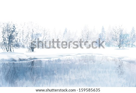 Vector of winter scene with river and forest background. - stock vector