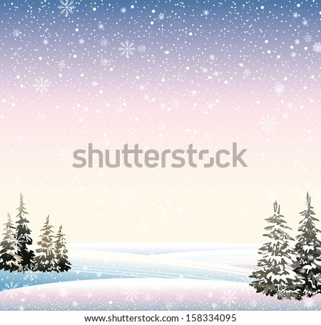 Vector of winter snowy landscape with forest. - stock vector