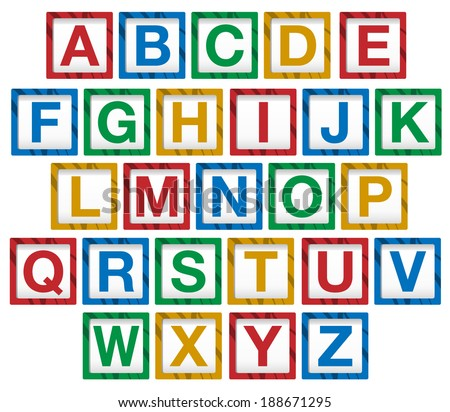 Vector of wooden children's alphabet blocks