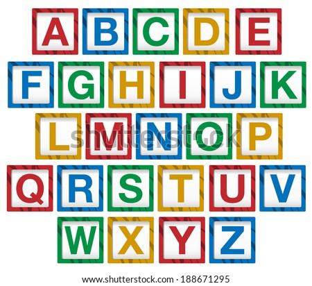 Vector of wooden children's alphabet blocks - stock vector