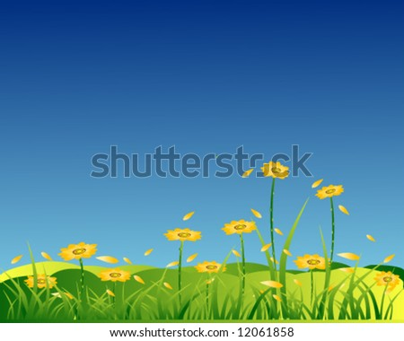 vector of yellow flowers with petal grass in blue sky
