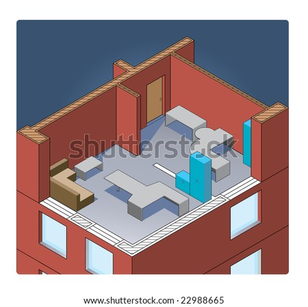 vector office building isometric
