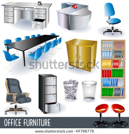 vector office furniture icon set - stock vector