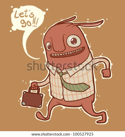 vector  office monster - stock vector