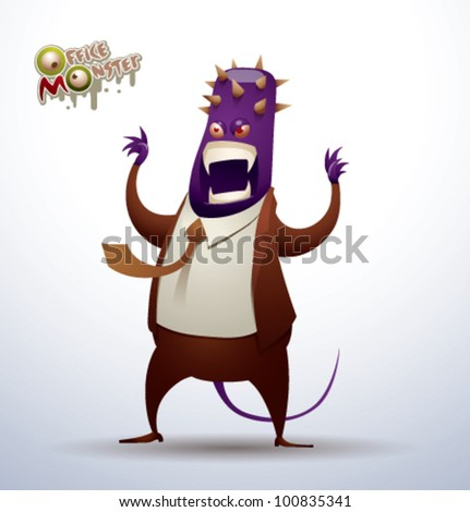 vector  office monster 4 - stock vector