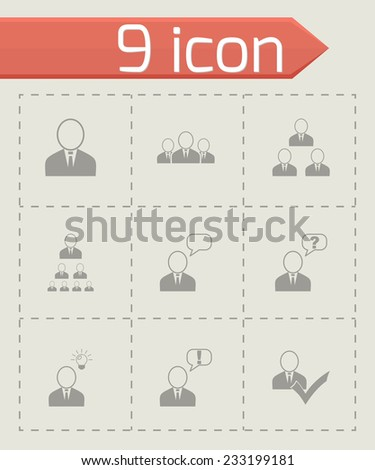 Vector office people icon set on grey background - stock vector
