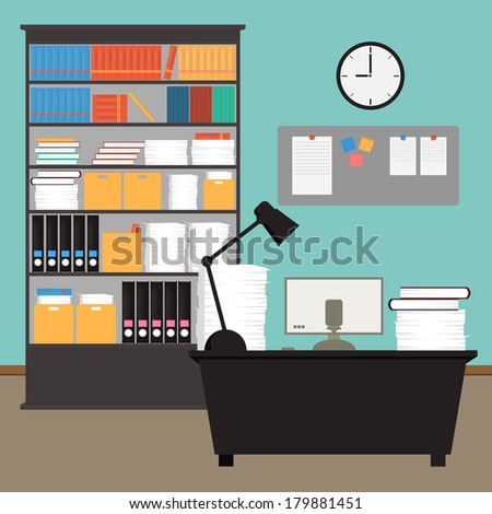 Vector Office room.interior,books,desk,clock,computer,paper - stock vector