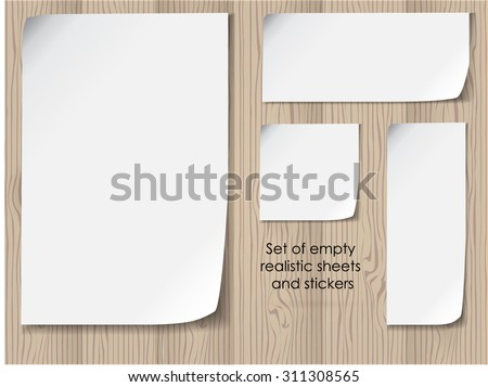 vector office set of empty white sheets with folded corners. Template collection - stock vector