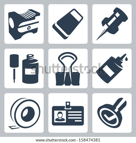 Vector office stationery icons set: pencil sharpener, eraser, push pin, correction fluid, clip, glue, sticky tape, identity tag, stamp - stock vector