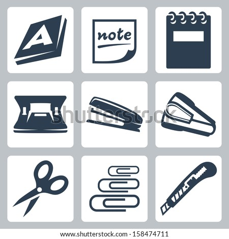 Vector office stationery icons set: ream, note, writing pad, hole punch, stapler, destapler, scissors, paper clips, utility knife - stock vector