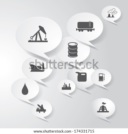 Vector oil and gas industry icons in clouds. - stock vector