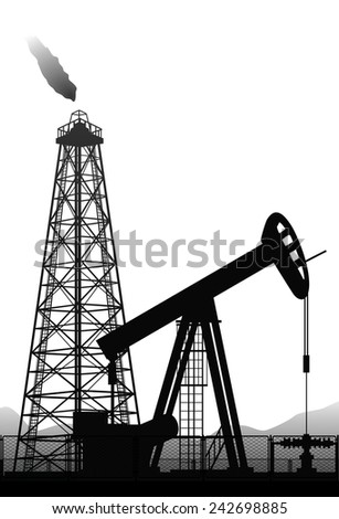 Vector. Oil pump and rig silhouette isolated on white background. - stock vector