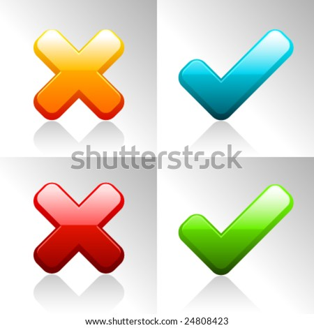 Vector Ok and Cancel Icons - stock vector