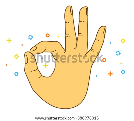 Vector OK hand gesture. All right hand drawn sign. Vector flat illustration. Isolated on white background. Presentation template. Banner vector. Poster layout. EFinger hand. Hand pointing - stock vector