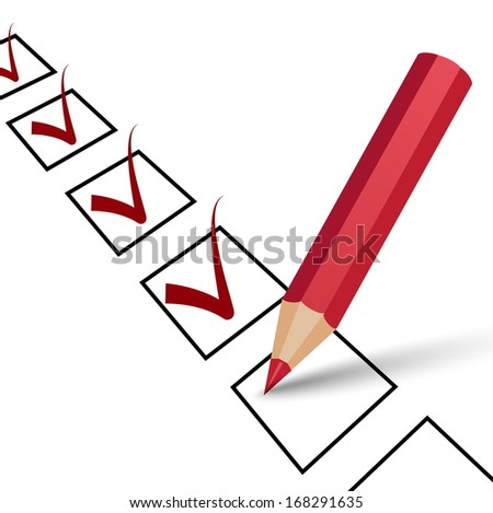 vector ok sign with red pencil, red tick on a white background