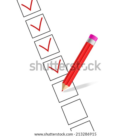 vector OK sign with red pencil, red tick on a white background - stock vector