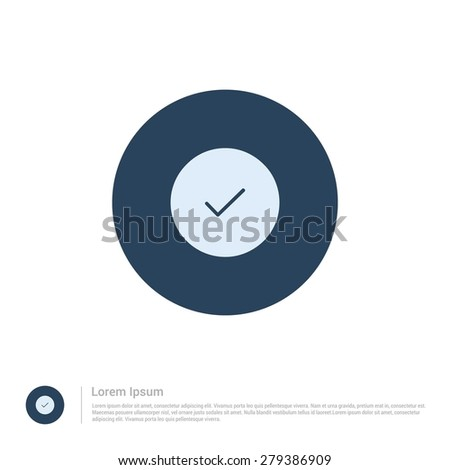vector ok tick icon thin line for web and mobile, modern minimalistic flat design. Vector outline icon and offset colour on light white background - stock vector