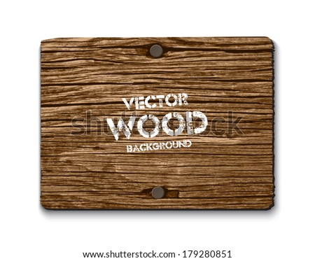 Vector old dry brown wood rectangular banner with two rusty nails - stock vector