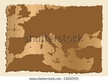 vector old map of Europe with Mediterranean Sea - stock vector