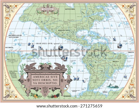 Vector old map of South and North America - stock vector