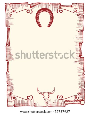 Vector old paper background with horseshoe and skull - stock vector