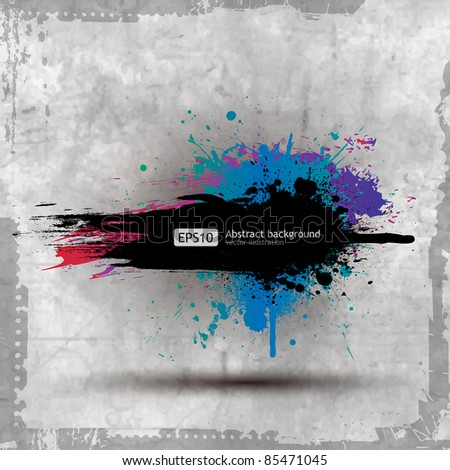 Vector Old Paper Ink Splat Colourful Banner - stock vector