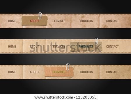 Vector old paper web navigation bar design templates - stock vector