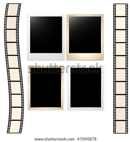 vector old photo cards with film strip
