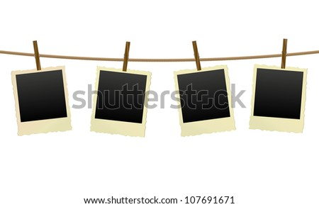 vector old photo frames on a clothesline - stock vector