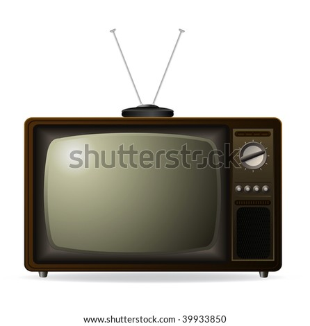 vector old retro tv with antenna