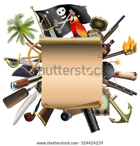 Vector Old Scroll with Pirate Accessories - stock vector