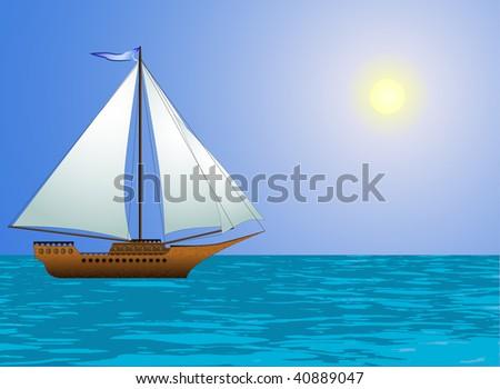 vector old ship in the sea under sun - stock vector