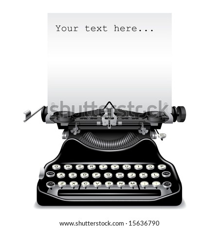 Vector old typewriter with a paper - stock vector