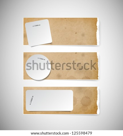 Vector old used brown cardboard torn paper banners with white paper notes attached with staples - stock vector
